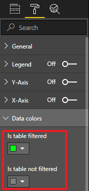 Modify data colors to Display a light when data is filtered