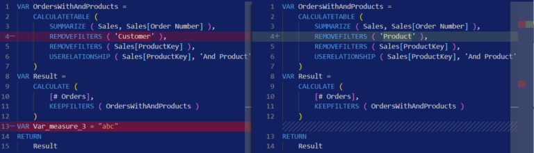Compare DAX and M formulas in Visual Studio Code