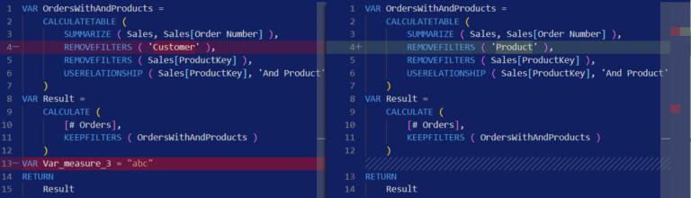 Compare DAX and M formulas in Visual Studio Code